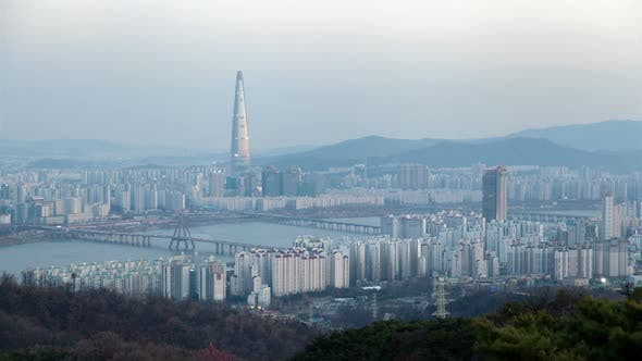 Thumbnail for Korea, Seoul Cityscape Lotte Tower During All Day