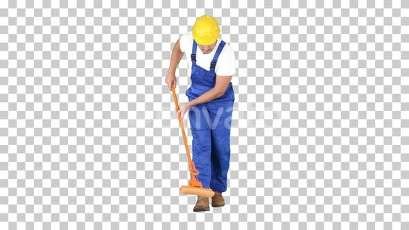 Mature Male Worker Cleaning Floor With Mop, Alpha Channel
