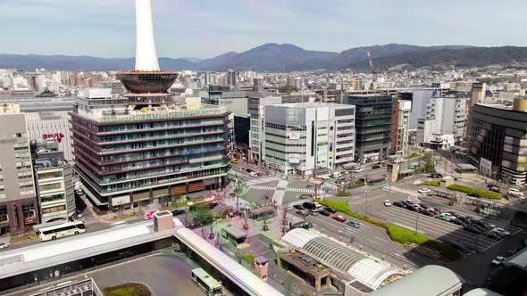 Kyoto Huge Square Near Railway Station Timelapse