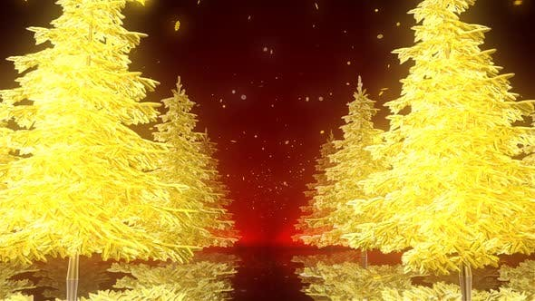 Thumbnail for Gold Christmas Trees 4K