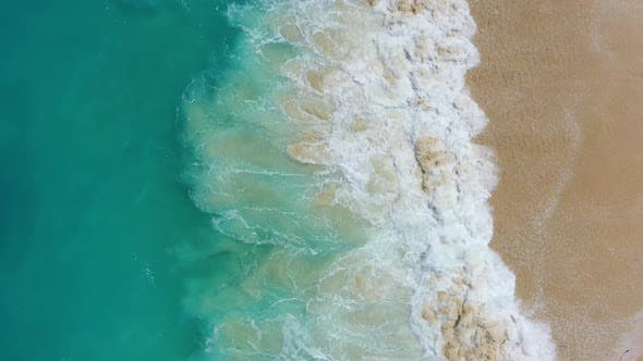 Thumbnail for Coast and Waves as A Background from Top View. Turquoise Water Background from Drone.