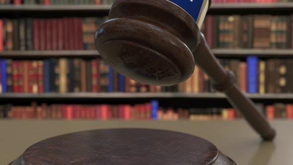 Thumbnail for Flag of Australia on Falling Judges Gavel in Court