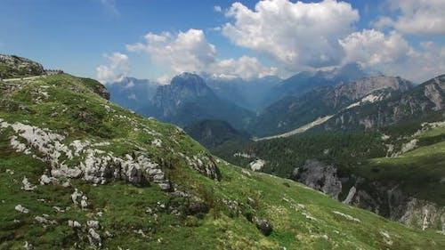 Flight Above mountains  in julian alps,Mangart,Triglav National Park