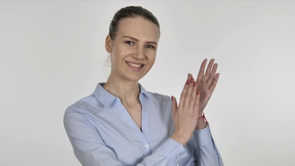 Thumbnail for Applauding Young Businesswoman, Clapping on White Background