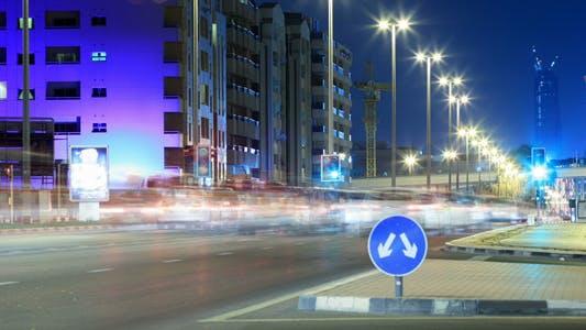 Thumbnail for Dubai Street At Night Time Lapse 2