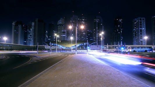 Dubai Street At Night Time Lapse 3