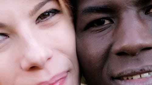 Interracial love concept.smiling