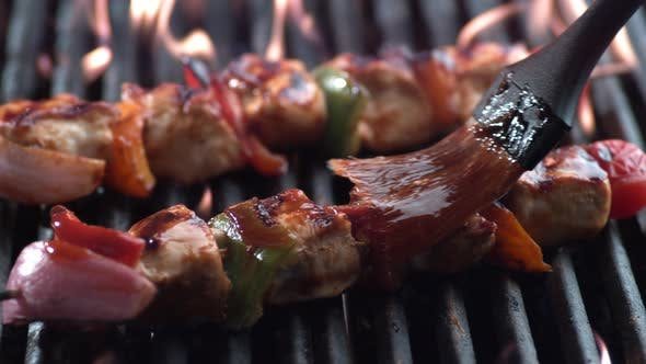 Thumbnail for Chicken skewers on grill, shot on Phantom Flex 4K