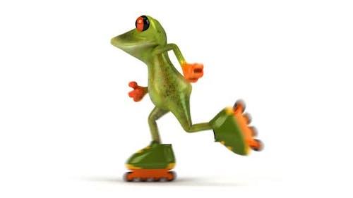Fun frog on rollerskates