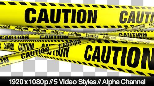 Gelbes Caution Boundary Tape - 5 Videos