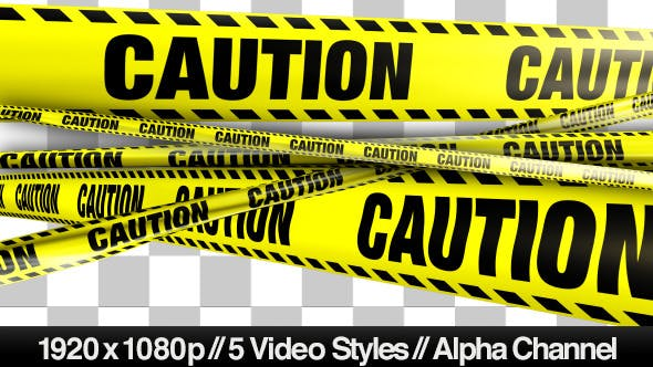 Thumbnail for Yellow Caution Boundary Tape - 5 Videos