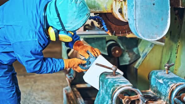 Thumbnail for Industrial Worker at Factory on Granite Manufacture