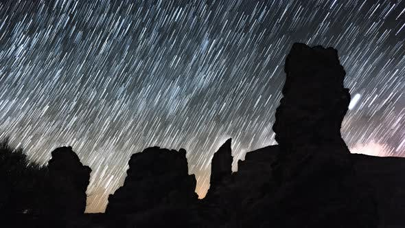 Thumbnail for Startrails Timelapse of Milky Way Over Roques De Garcia, Tenerife
