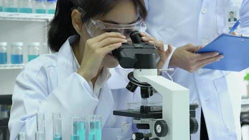 Scientist female looking microscope in laboratory