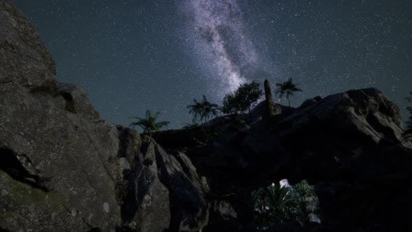 Thumbnail for Milky Way Galaxy Over Sandstone Canyon Walls