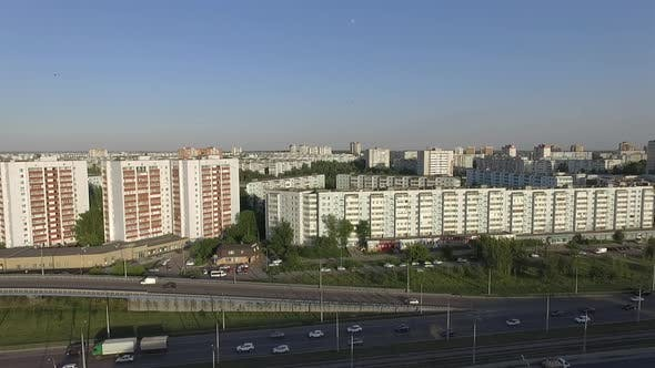 Aerial City View with Houses and Traffic on the Road. Kazan, Russia