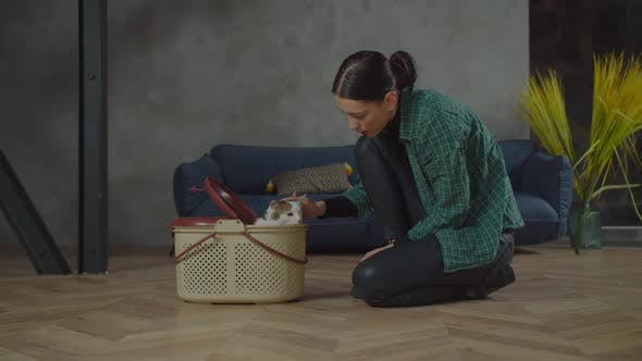 Cheerful Female Caressing Adopted One Eyed Cat at Home