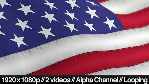 Thumbnail for US American Flag Blowing Close Up - 2 Styles