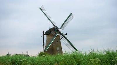 Historic Windmill in Kinderdijk Netherlands