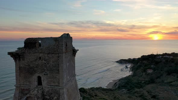 Thumbnail for Sunset on the Sea on the Island of Sicily. Aerial View