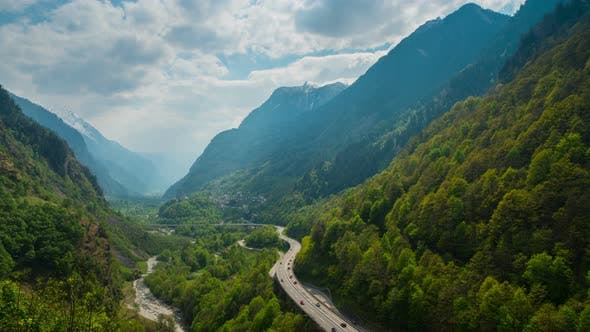 Thumbnail for Curved Road in Alps, Switzerland