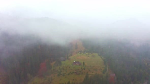 Thumbnail for Rainy Foggy Weather in the Carpathian Valley in Beautiful Ukraine in the Village of Dzembronya