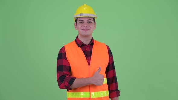 Thumbnail for Happy Young Multi Ethnic Man Construction Worker Giving Thumbs Up