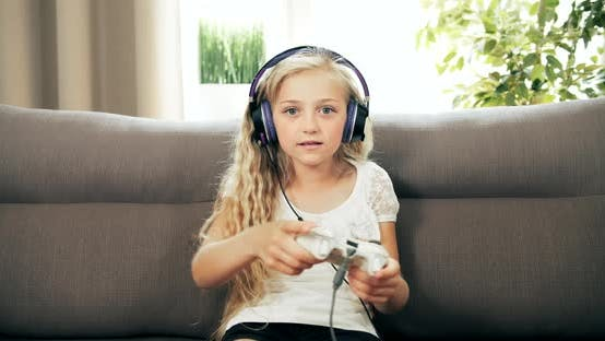 Thumbnail for Girl Playing Video Game with Joystick
