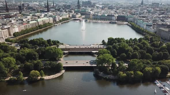 Thumbnail for Aerial View of Lake Alster in the Center of Hamburg. Geramania in the Summer