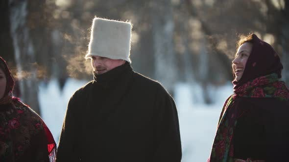 Thumbnail for Russian Folklore - Russian Women and Men Are Smiling at the Camera on Sunny Day
