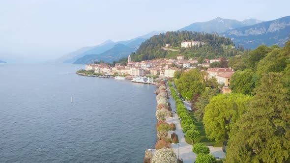 Thumbnail for Aerial View. Bellagio, a City in Italy on Lake Como. Beautiful Landscape with Mountains, Lake and