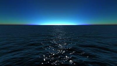 Wide Angle Dark Ocean and Clear Sky Loop