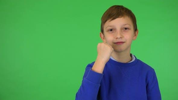 A Young Cute Boy Celebrates - Green Screen Studio