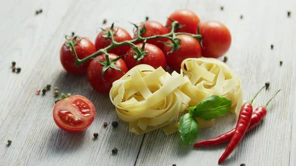 Thumbnail for Uncooked Pasta Bunches with Tomatoes