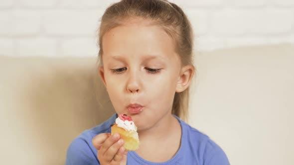 Thumbnail for Little Girl Child Eating Cake