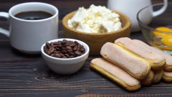 Thumbnail for Ingredients for Cooking Tiramisu Savoiardi Biscuit Cookies, Mascarpone, Cream, Sugar, Cocoa