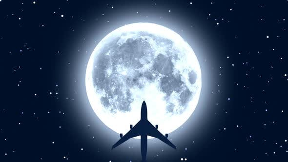 Passenger Airplane Over Moon in Starry Night