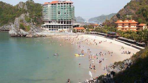 Cat Ba Island Beach Aerial, Ha Long Bay, Vietnam Timelapse