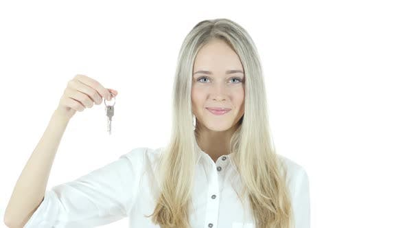 Thumbnail for Woman Showing Key of New House, White Background