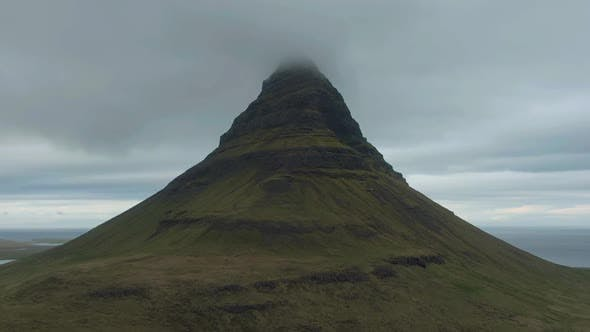 Kirkjufell Mountain in Summer. Iceland. Aerial View