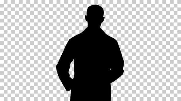 Silhouette Male doctor walking, Alpha Channel