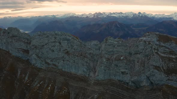 Thumbnail for Aerial View of Mount Pilatus During Sunrise. Autumn Switzerland