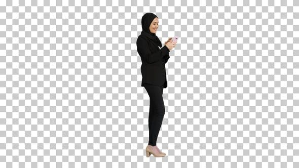 Thumbnail for Smiling Arab woman in hijab taking selfie, Alpha Channel