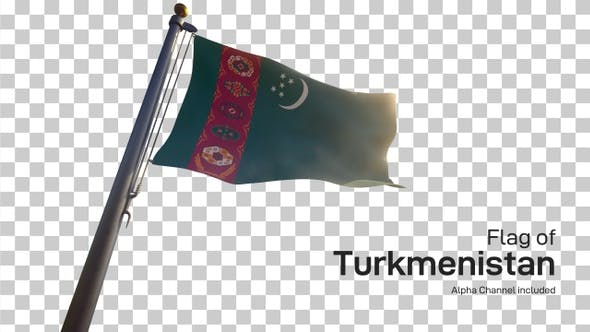 Turkmenistan Flag on a Flagpole with Alpha-Channel