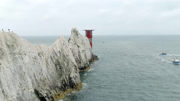 Thumbnail for The Isle of Wight Needles a Natural Chalk Coastal Feature with a Lighthouse
