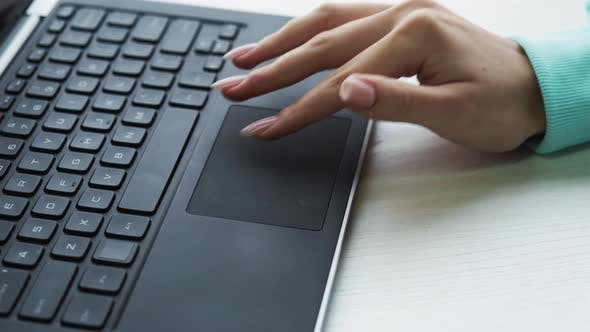 Internet Research Seo Hand Using Laptop Touchpad