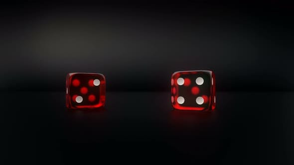 Thumbnail for Pair Of Red Glass Casino Dice Roll Slow Motion Result Four And Six