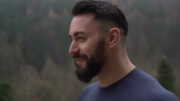 Thumbnail for Bearded Fitness Man Smiling Wide After Training