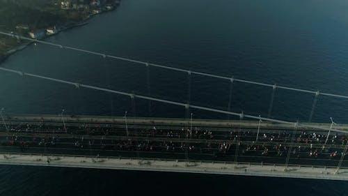 Istanbul Bosphorus Bridge Eurasia Marathon Aerial View