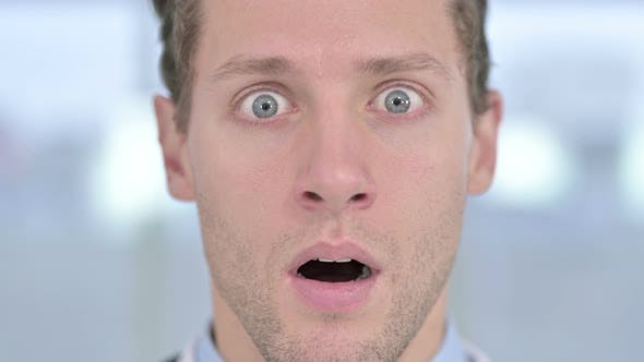 Thumbnail for Close Up of Face of Shocked Young Male Looking at the Camera